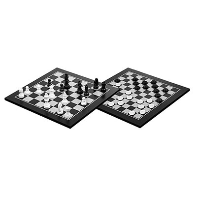 Chess and Checkers, black and white (Philos 2802)