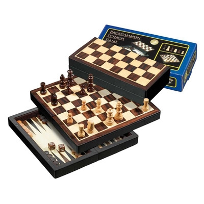 Chess Checkers Backgammon, Travel, magnetic (Philos 2507)